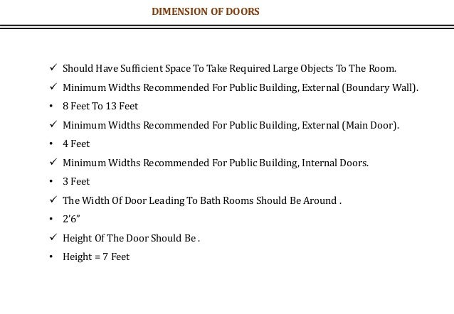 DIMENSION OF DOORS  Should Have Sufficient Space To Take Required Large Objects To The Room.  Minimum Widths Recommended...