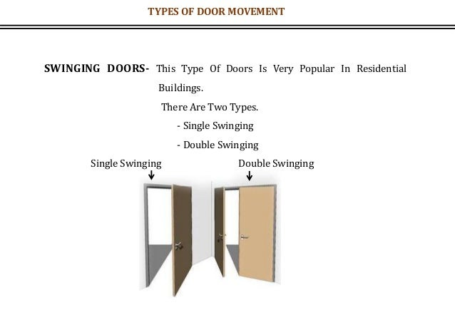 SWINGING DOORS- This Type Of Doors Is Very Popular In Residential Buildings. There Are Two Types. - Single Swinging - Doub...