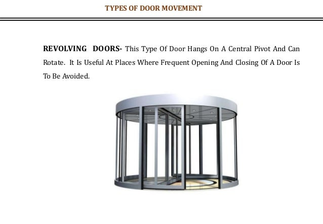 REVOLVING DOORS- This Type Of Door Hangs On A Central Pivot And Can Rotate. It Is Useful At Places Where Frequent Opening ...