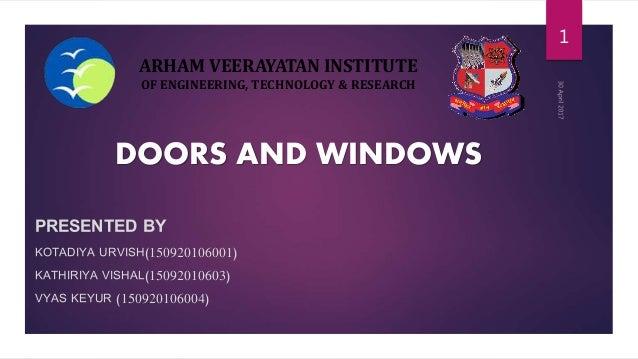 ARHAM VEERAYATAN INSTITUTE OF ENGINEERING, TECHNOLOGY & RESEARCH PRESENTED BY KOTADIYA URVISH(150920106001) KATHIRIYA VISH...