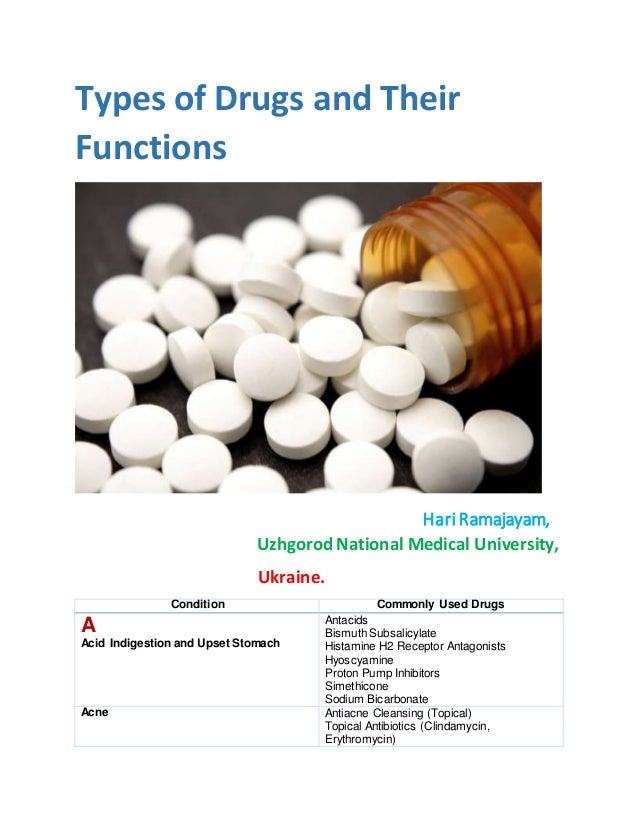 Types of drugs and their functions