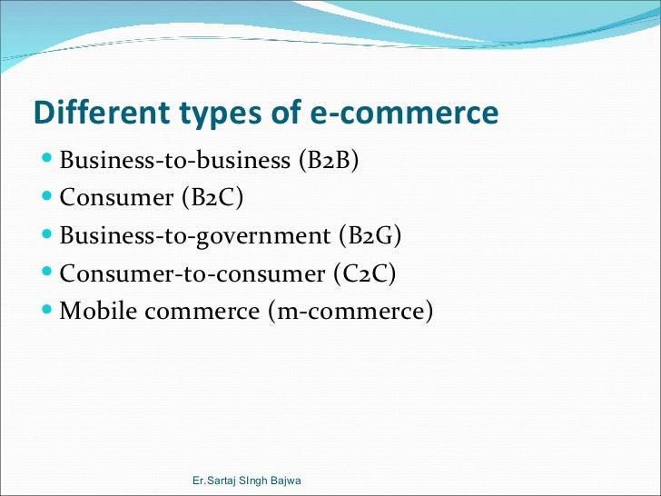 Different types of e-commerce <ul><li>Business-to-business (B2B) </li></ul><ul><li>Consumer (B2C) </li></ul><ul><li>Busine...