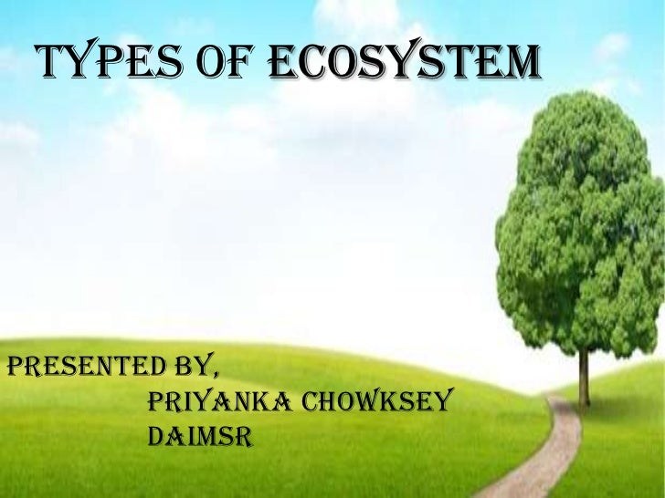 Types of ecosystemPresented by,        Priyanka Chowksey        DAIMSR