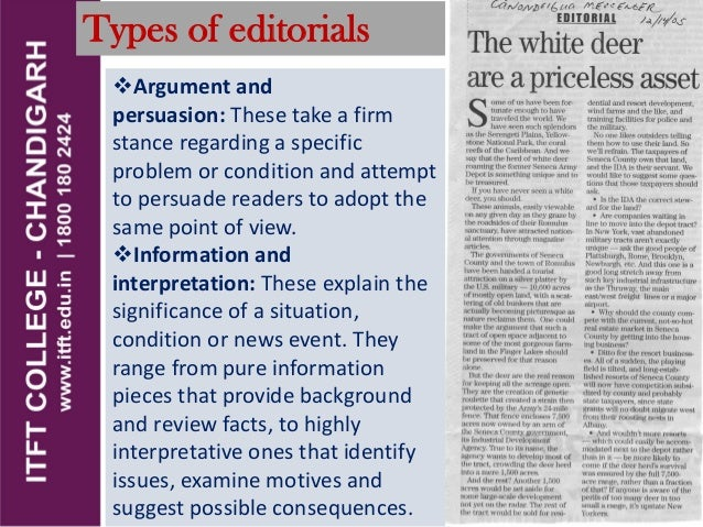 ITFT_Media_Types of editorials, planning and writing the editorial