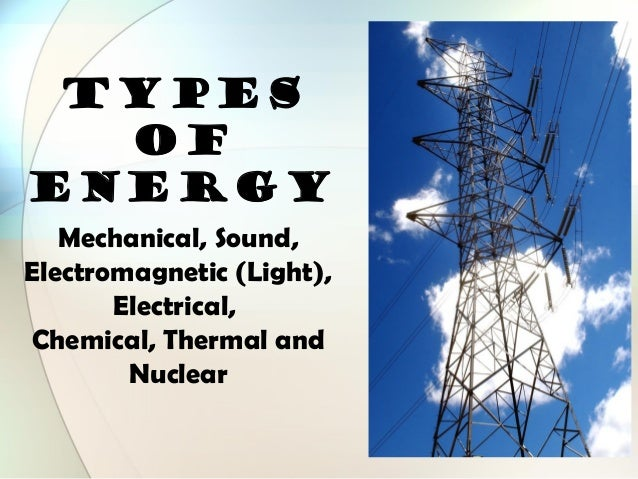 TYPES OF ENERGY Mechanical, Sound, Electromagnetic (Light), Electrical, Chemical, Thermal and Nuclear