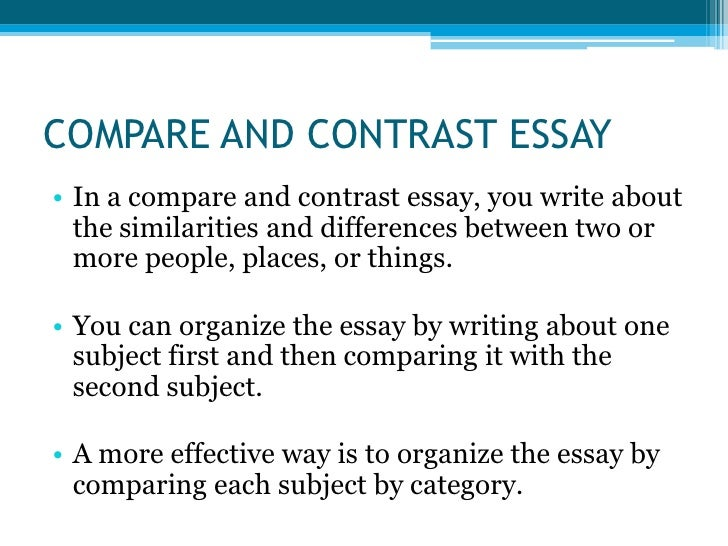 Types of essays Types of contrast