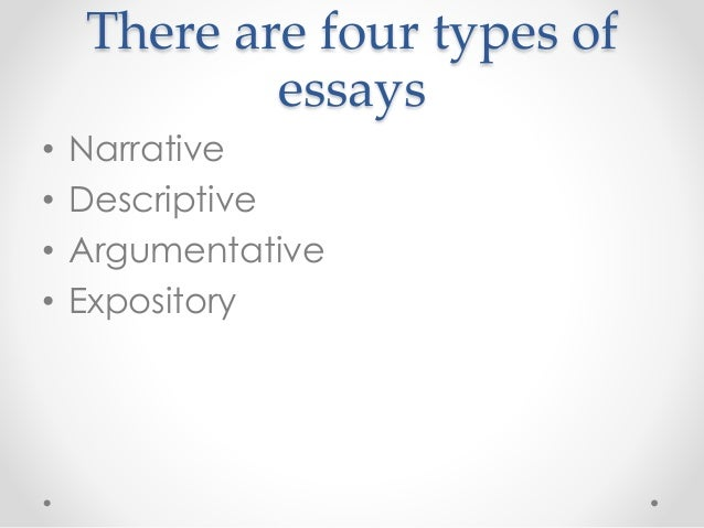 types of essays 4 there are four types of essays • narrative