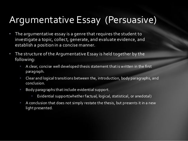 types of essay argumentative Our elementary school essay writing course introduces students to longer forms of writing and prepares them for various types of writing styles such as expository, persuasive, and narrative the middle school essay writing course , designed for grades 6-8, will help your student write a well-structured, effective essay.