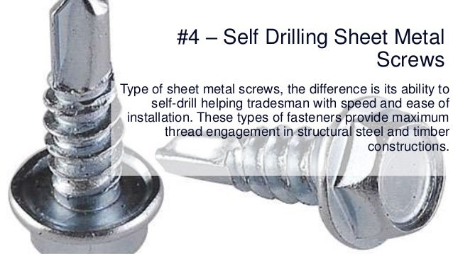 Types of fasteners and fixings