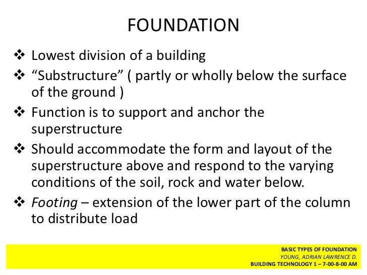 Bt 1 types of foundation Foundations types