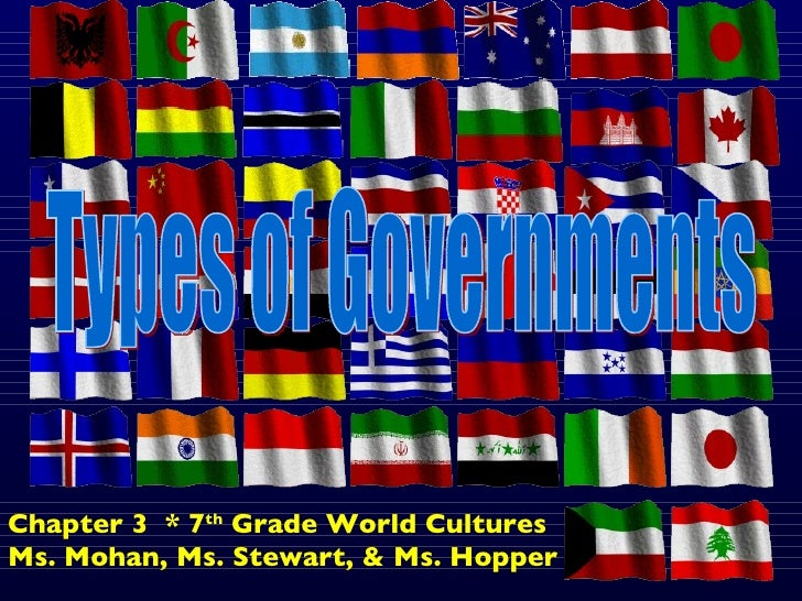 Types of Governments Chapter 3  * 7 th  Grade World Cultures Ms. Mohan, Ms. Stewart, & Ms. Hopper