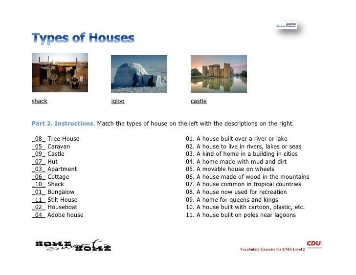 Types of homes answers for Kinds of houses
