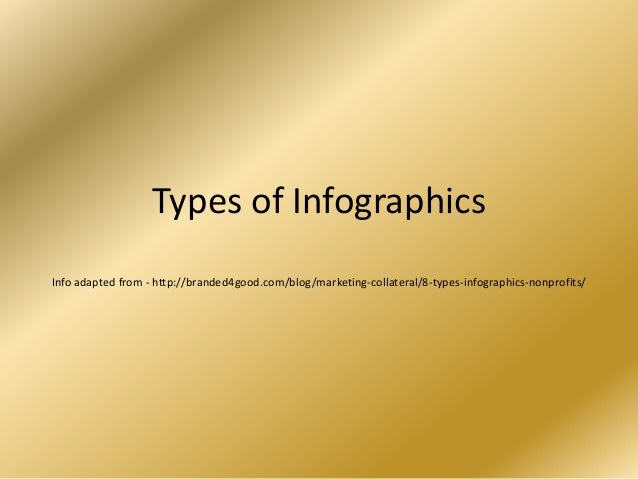 Types of InfographicsInfo adapted from - http://branded4good.com/blog/marketing-collateral/8-types-infographics-nonprofits/