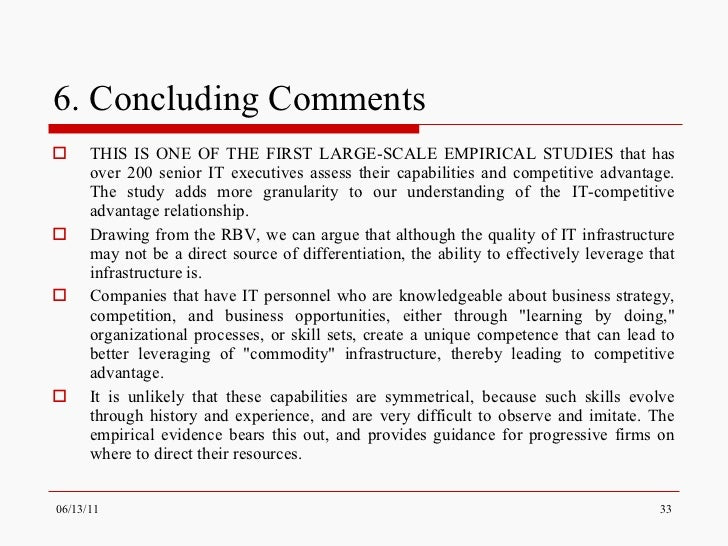 an empirical study on competitive marketing Impact of strategic management element in enhancing firm's sustainable competitive advantage an empirical study of nigeria market perspective found that.