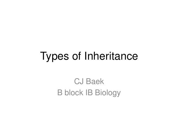 Types of Inheritance        CJ Baek   B block IB Biology