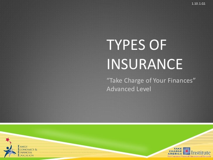 "TYPES OF INSURANCE "" Take Charge of Your Finances"" Advanced Level"