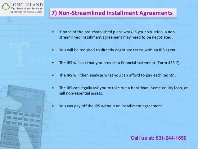 Types Of Irs Installment Agreements Plan For Your Tax Debt Solution