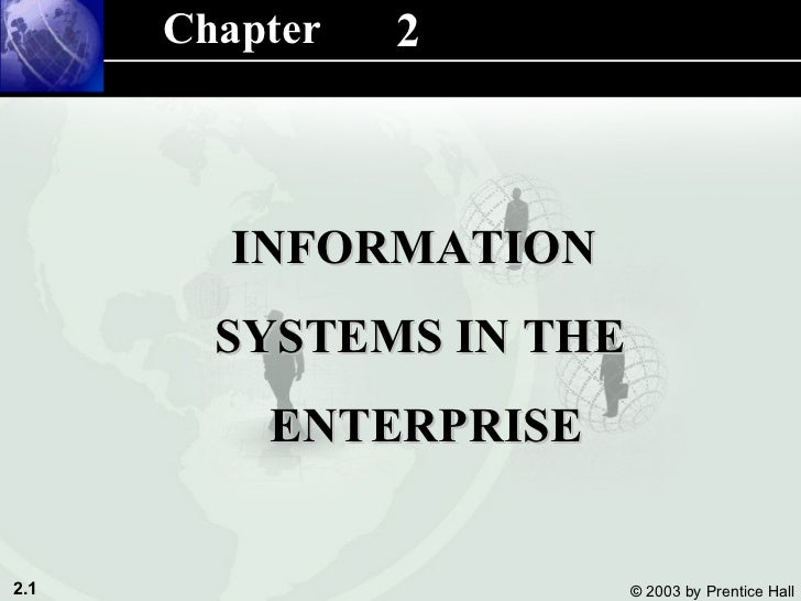 2 INFORMATION  SYSTEMS IN THE ENTERPRISE Chapter