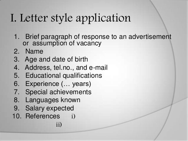 Writing a job application letter ppt