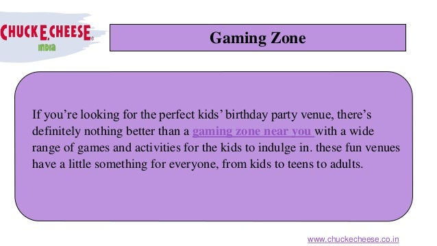 Gaming Zone If you're looking for the perfect kids' birthday party venue, there's definitely nothing better than a gaming ...