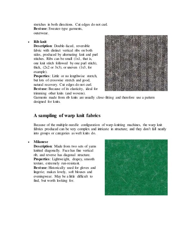 Knitting Fabric Structure : Types of knitted fabric