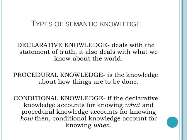 Types Of Knowledge Facilitating Learning