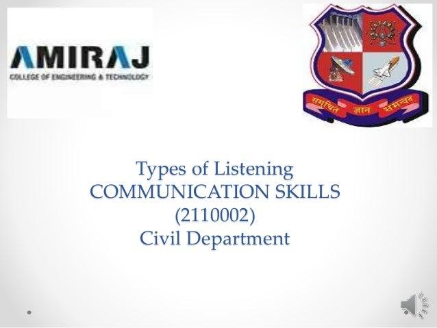 Types of Listening COMMUNICATION SKILLS (2110002) Civil Department