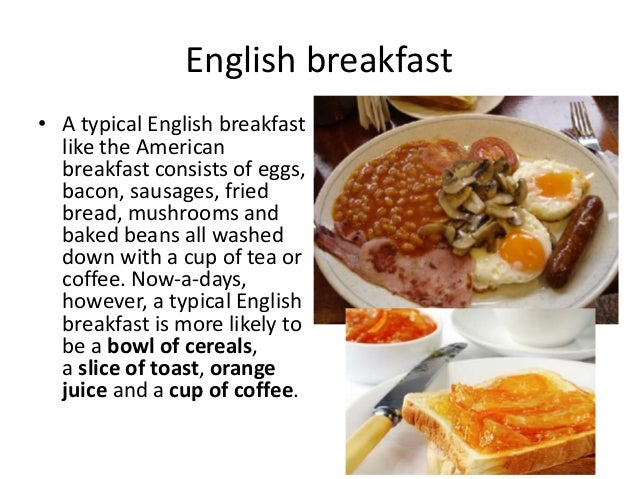 Types of meals for American cuisine presentation