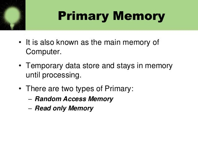 Types Of Memory Bba 1st