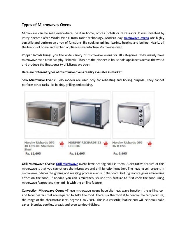Types Of Microwaves Ovens