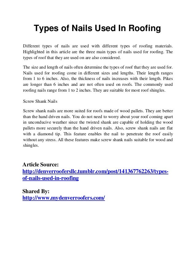 Types of nails used in roofing