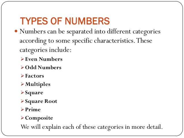 different types of numbers in mathematics pdf