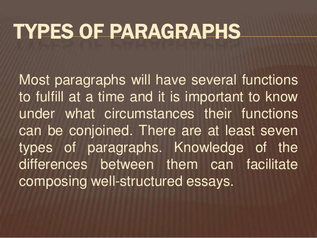 types of paragraphs A paragraph (from the ancient greek παράγραφος paragraphos,  forms generally vary among types of writing for example, newspapers, scientific journals, and fictional essays have somewhat different conventions for the placement of paragraph breaks.