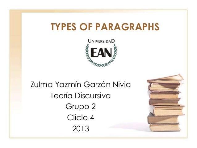 TYPES OF PARAGRAPHS  Zulma Yazmín Garzón Nivia Teoría Discursiva Grupo 2 Cliclo 4 2013