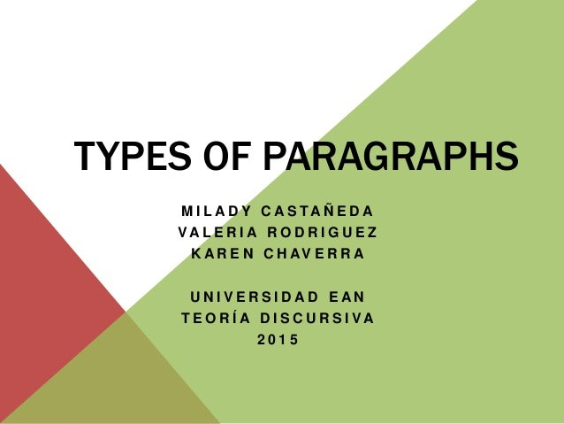 The Major Paragraph Types