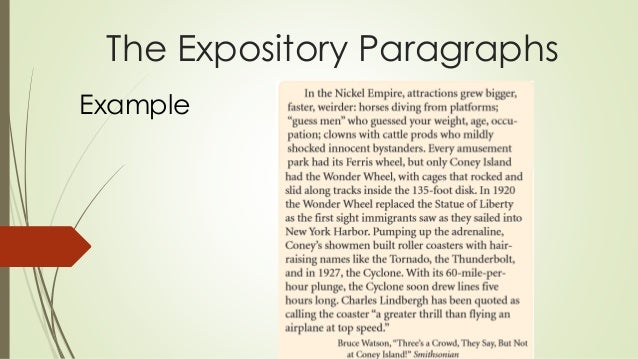 6 types of expository essays Help your student understand different types of essays and learn the four major types of essays required for school success while like an expository essay in its presentation of facts, the goal of the persuasive essay is to convince the reader to accept the writer's point of view or recommendation the writer must build a.