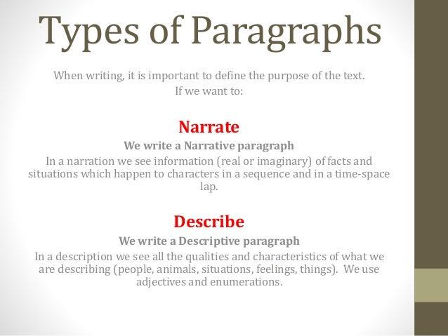 kinds of descriptive paragraph