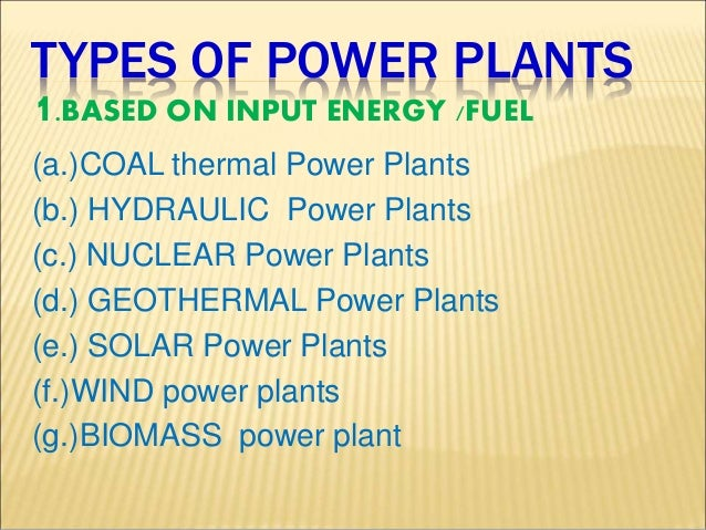Types Of Power Plants