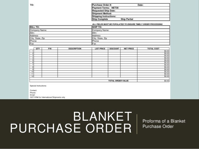 BLANKET PURCHASE ORDER Proforma Of A Blanket Purchase Order ...  Examples Of Purchase Orders
