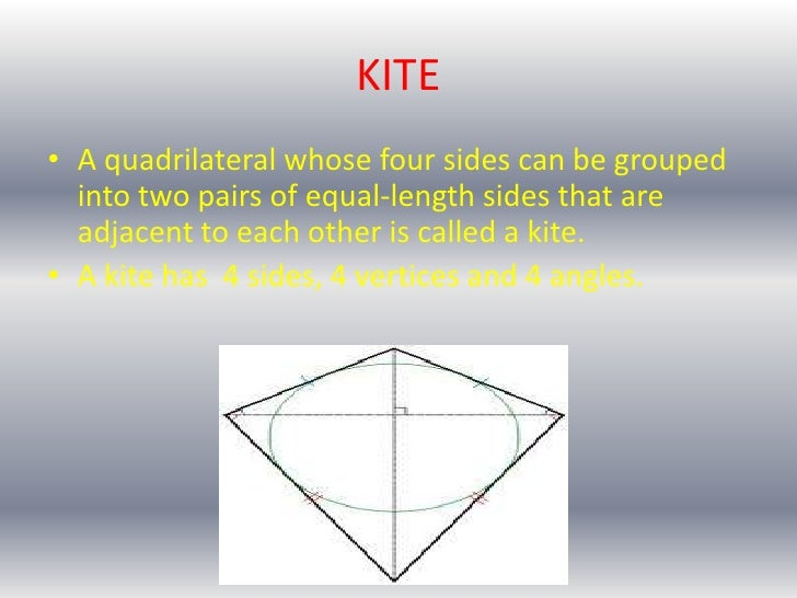 • Two disjoint pairs of consecutive sides arecongruent by definition• The diagonals are perpendicular.• One diagonal (segm...