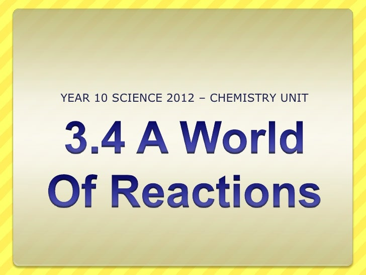 YEAR 10 SCIENCE 2012 – CHEMISTRY UNIT