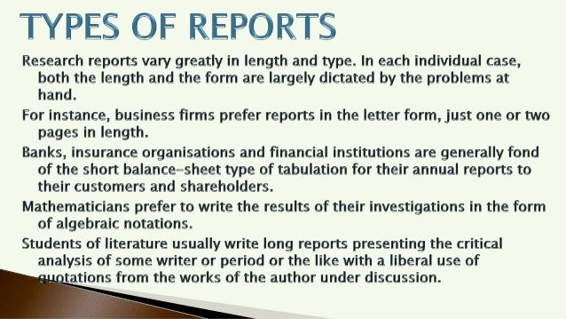 Types of Research Report Writing  Slide 2