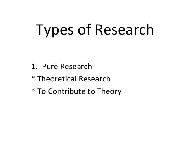 Types of Research 1. Pure Research * Theoretical Research * To Contribute to Theory