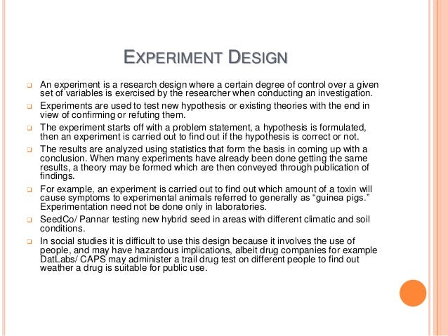 What are the types of experimental research designs?