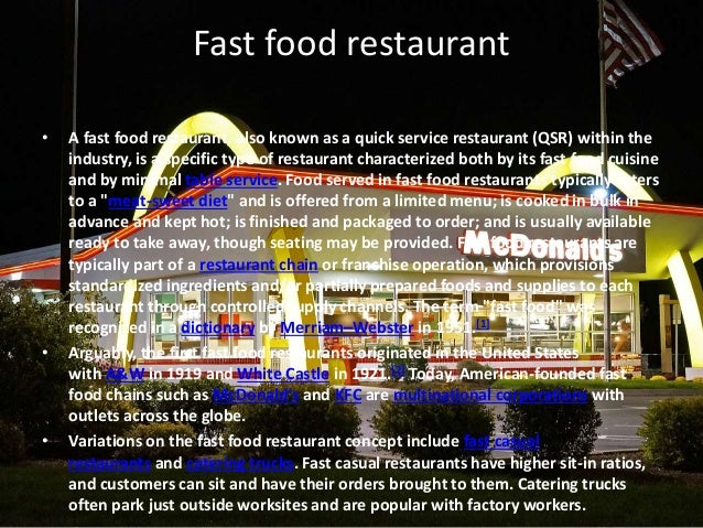 How Is Each Food Service Operation Characterized