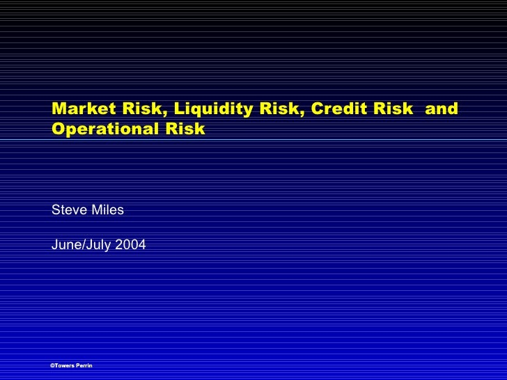 Market Risk, Liquidity Risk, Credit Risk  and Operational Risk