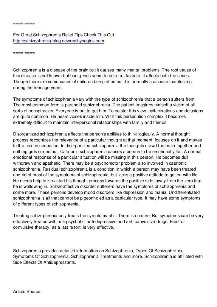 ==== ====For Great Schizophrenia Relief Tips Check This Outhttp://schizophrenia-blog.newrealitybegins.com==== ====Schizoph...