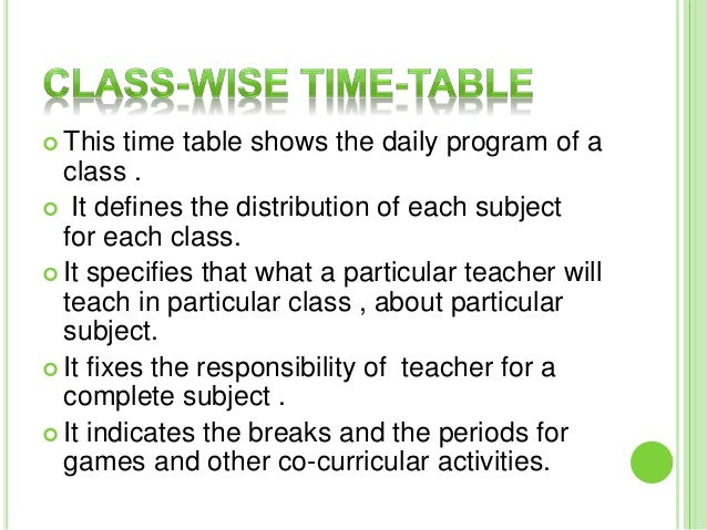 importance of time table Second school clock, spark plug and a mirror: time table is said to be the second clock which indicates all the activities undertaken in a school it shows the hours of school work, kind of work or.