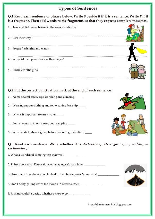 https://5minuteenglish.blogspot.com Types of Sentences Q.1 Read each sentence or phrase below. Write S beside it if it is ...