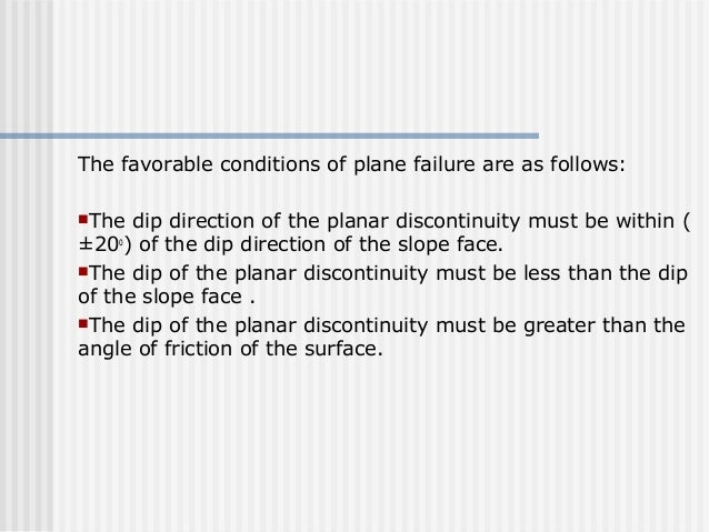The favorable conditions of plane failure are as follows: The dip direction of the planar discontinuity must be within ( ...